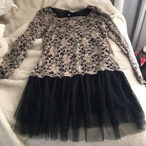 Black long sleeve lace dress